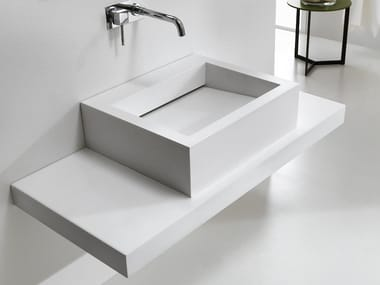 Countertop rectangular HI-MACS® washbasin SLIDE