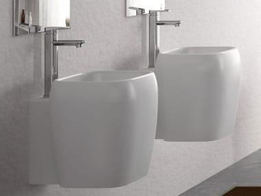 Square wall-mounted ceramic washbasin SHUI | Square washbasin
