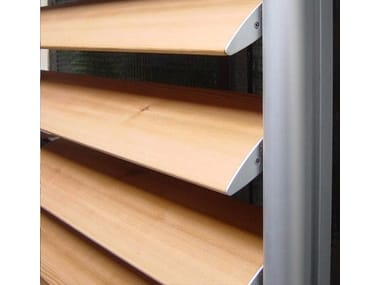 Sunscreening system for facade Wood Sunshades