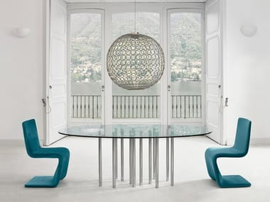 Glass and steel table MILLE