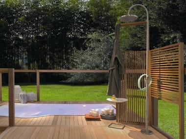 Steel outdoor shower with overhead shower Outdoor shower