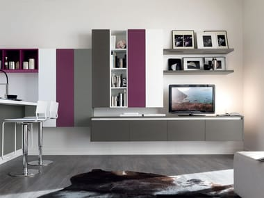 Sectional lacquered storage wall ESSENZA | Storage wall