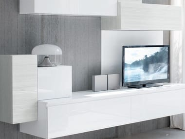 Sectional wall-mounted lacquered storage wall ESSENZA | Sectional storage wall