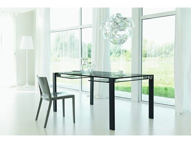 Extending glass table LIVINGSTONE