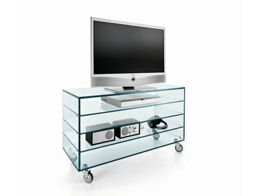 Glass TV cabinet with castors COMÒ ALTO