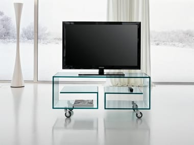 Tavolini In Vetro Porta Tv : Mobile porta tv in vetro trasparente su ruote e box arredo