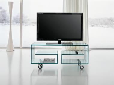 Glass TV cabinet with castors FLÒ 1
