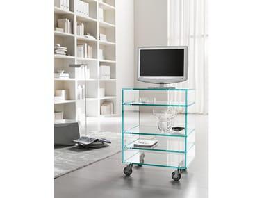 Glass TV cabinet with castors GRATTACIELO HI-FI