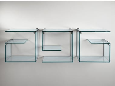 Wall-mounted glass bookcase ALFABETA