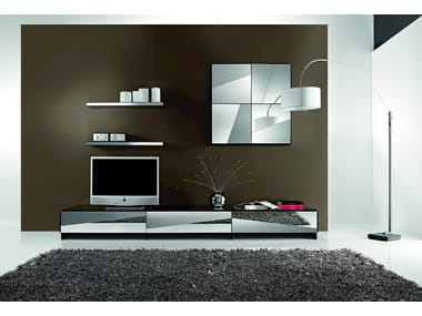 Modular sectional wall-mounted TV wall system PSICHE | Modular storage wall