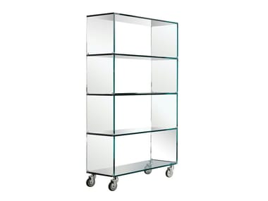 Glass bookcase with casters LIBRERIA