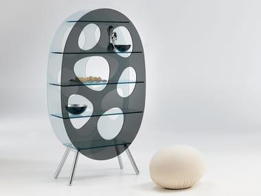 Floor-standing glass display unit LOTUS