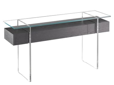 Wood and glass console table with drawers ÔSMOS | Console table