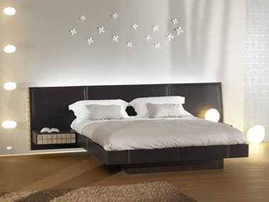 Leather bed with upholstered headboard EKO | Bed