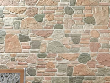 Outdoor porcelain stoneware wall tiles with stone effect STONE WALL