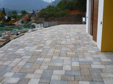 Cement outdoor floor tiles with stone effect BORGO SABBIA