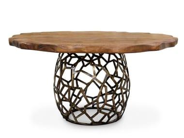 Round brass dining table APIS