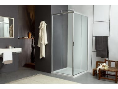 Corner shower cabin with sliding door MORE LIVE Z