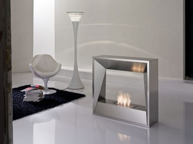 Bioethanol double-sided open steel fireplace SIPARIO | Double-sided fireplace