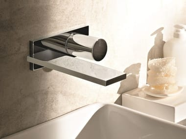 Wall-mounted washbasin mixer with plate MILANO - D113A/E513B