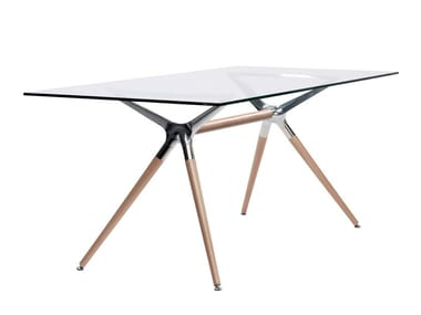 Rectangular tempered glass table NATURAL METROPOLIS | Rectangular table