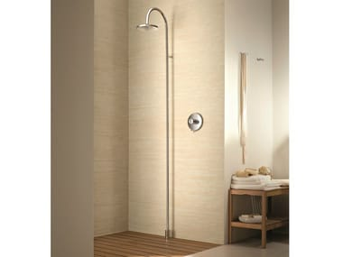Floor standing shower panel with overhead shower Floor standing shower panel
