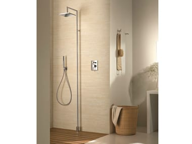 Floor standing shower panel with hand shower with overhead shower Floor standing shower panel