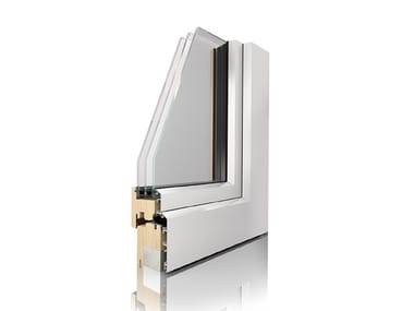 Aluminium and wood triple glazed window UNI_ONE COMFORT