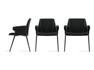 Sedia imbottita con braccioli PLATE | Sedia con braccioli