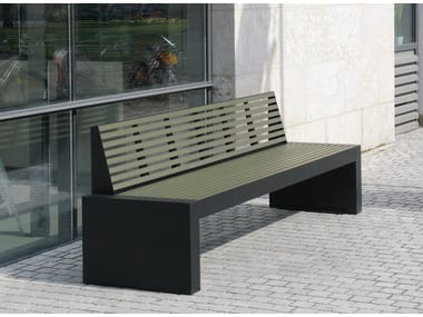 Stainless steel and PET Bench with back COMFONY 40 | Bench with back