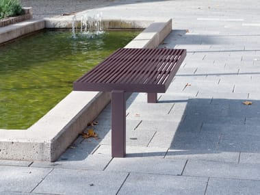 Stainless steel and PET Bench SICORUM M 400 | Backless Bench