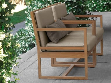 Teak chair with armrests SQUARE | Garden chair