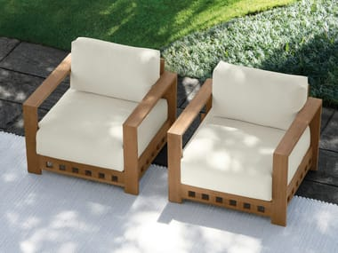 Teak garden armchair with armrests SQUARE | Garden armchair