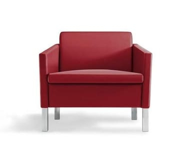 Leather armchair with armrests LOUNGE   Armchair
