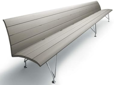 Aluminium bench seating with back AIRPORT | Bench seating with back