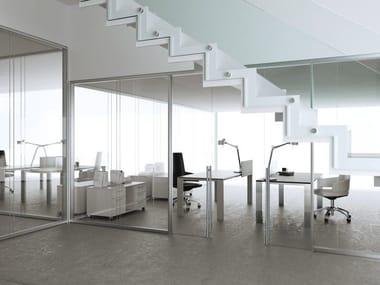 Glass and aluminium office partition ALLinONE