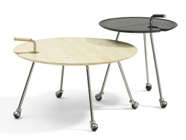 Round coffee table with castors POND