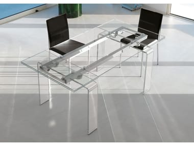 Design extending rectangular glass dining table FORTUNY | Glass table