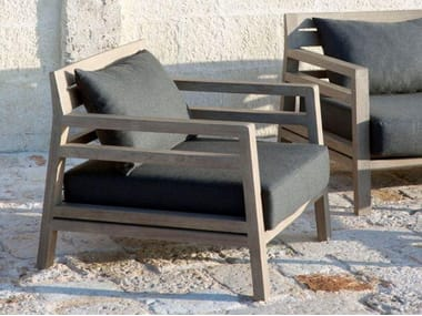 Teak garden armchair with armrests COSTES | Garden armchair