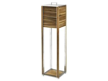 Lampada da terra per esterno a LED in teak GINGER XL | Lampada da terra per esterno