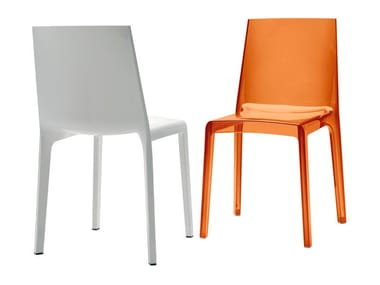 Stackable polycarbonate chair EVELINE