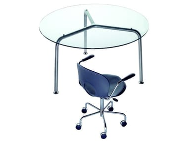 Round crystal and steel table CONVITO   Round table