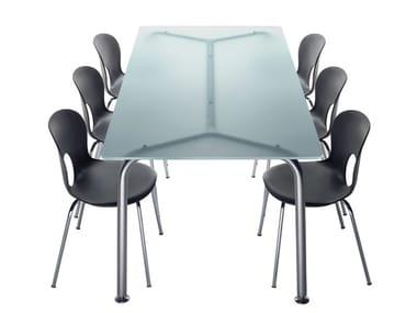 Table rectangulaire en acier et cristal CONVITO | Table rectangulaire