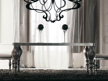 Lacquered glass dining table ZOE