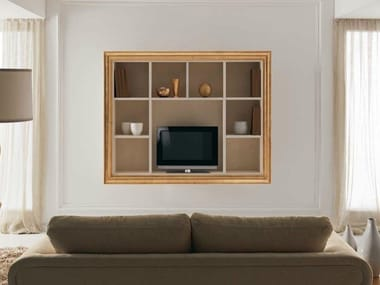 Wooden TV cabinet with shelves ZOE