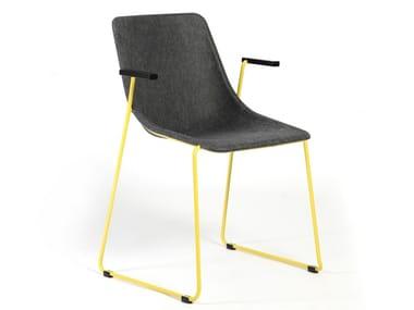 Sedia a slitta con braccioli KOLA | Sedia con braccioli