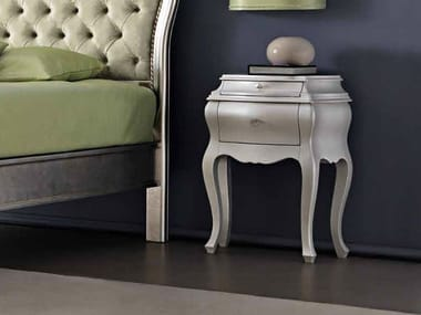 Lacquered bedside table with drawers MAYA