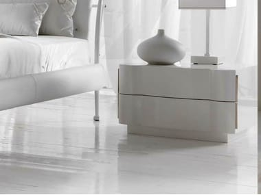 Lacquered bedside table with drawers LEON