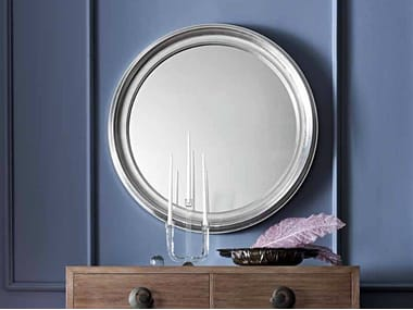 Wall-mounted framed round mirror LUISA