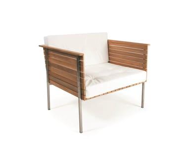 Teak garden armchair HÄRINGE | Low lounge chair